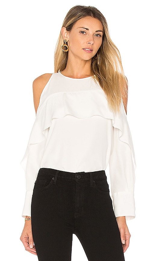 Halston Heritage Cold Shoulder Tunic With Flutter Detail in White