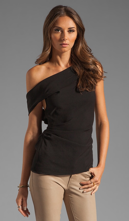 One Shoulder Drapey Crepe Top