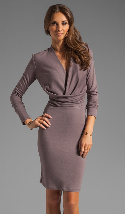 Long Sleeve V Neck Draped Front Jersey Dress