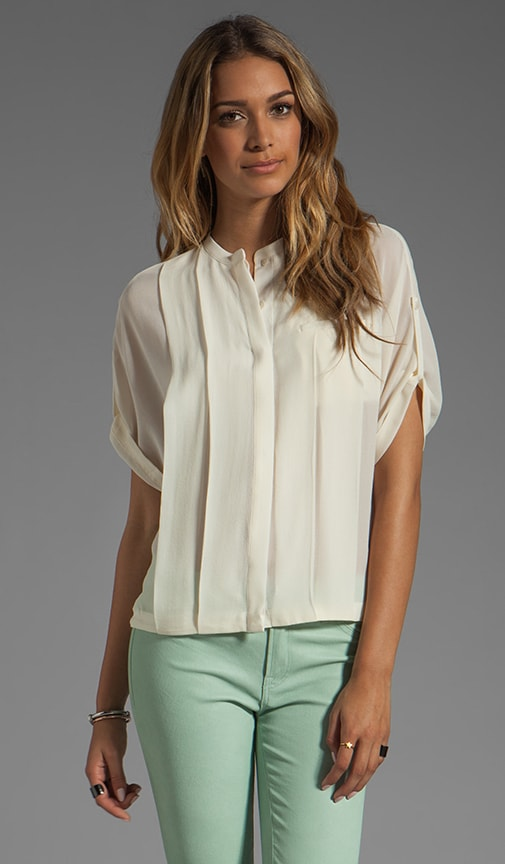 Short Sleeve Button Front Detail Bubble Hem Top