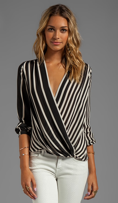 Long Sleeve Printed Wrap Front Top