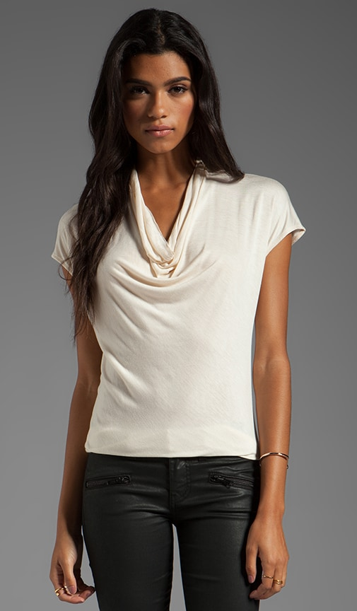 Short Sleeve Draped Neck Knit Top