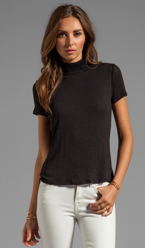 Short Sleeve Ribbed Turtle Neck Knit Top