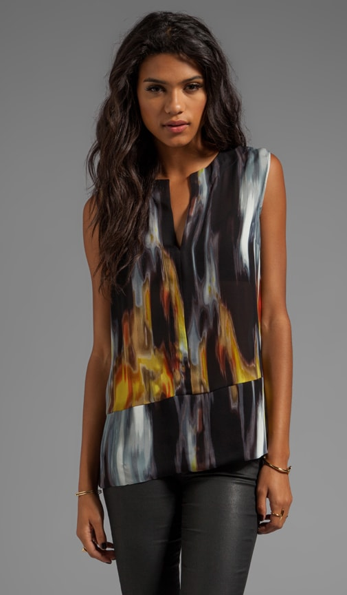 Printed Top with Shirttail Hem