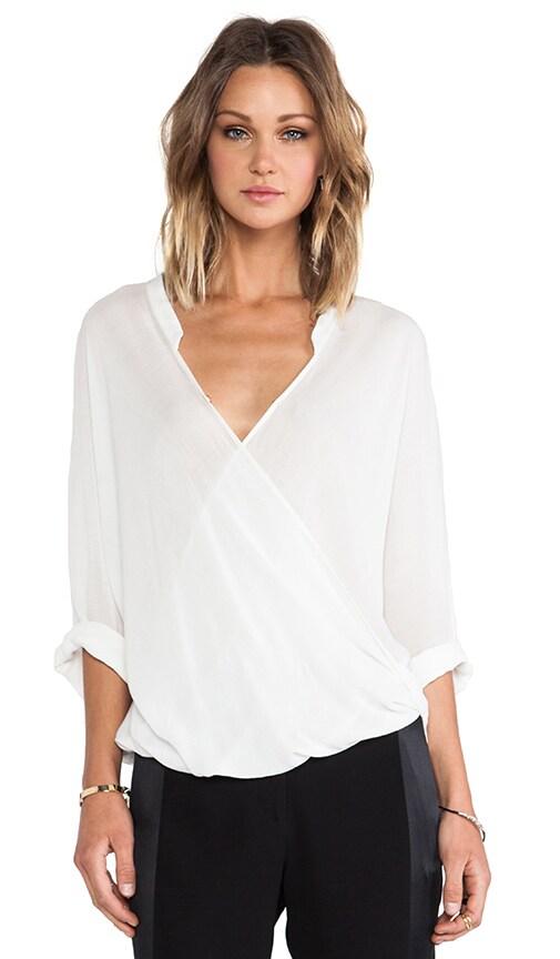3/4 Sleeve Drape Front Blouse