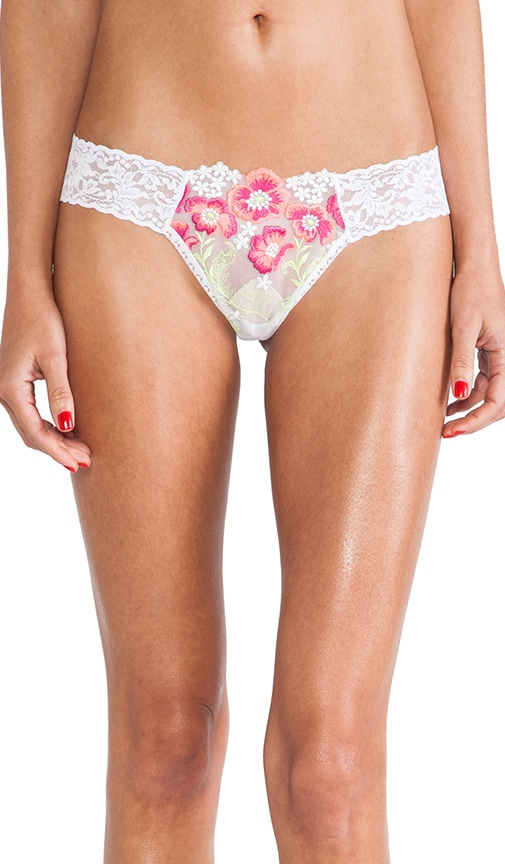 Embroidered Mesh Low Rise Thong