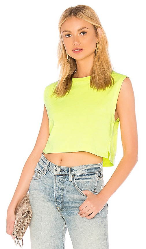 Hanes x Karla x REVOLVE The Neon Sleeveless Crop Tank in Yellow