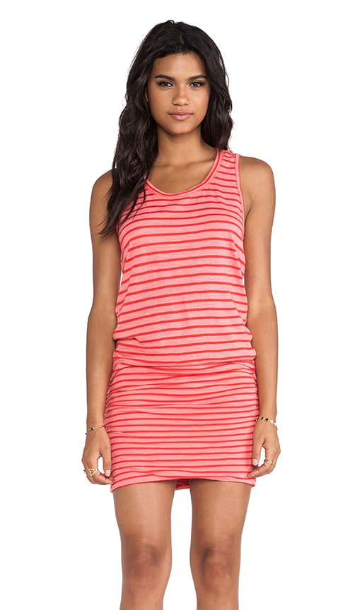 Red Stripes Rayon Shirred Dress
