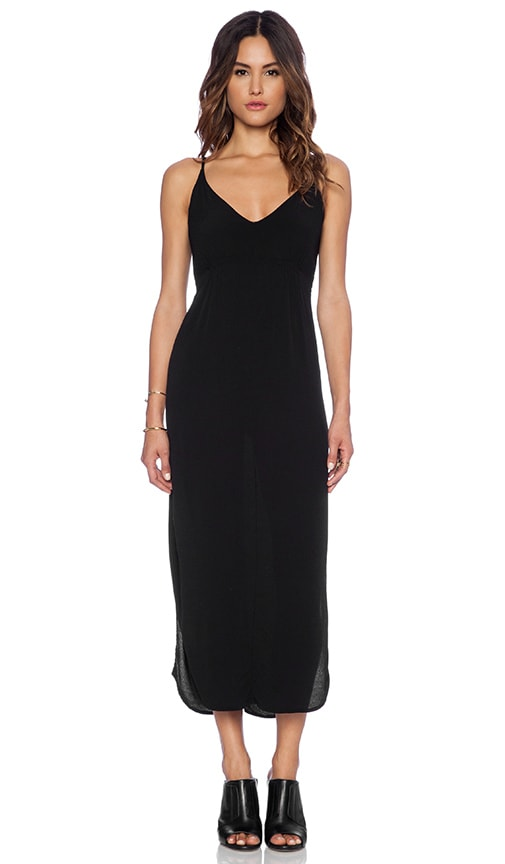 MONROW Crepe Side Slit Tank Dress in Black