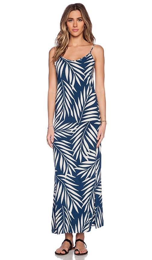 MONROW Palm Print Side Slit Rayon Slip Dress in Bone