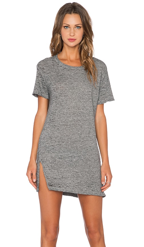 MONROW Vintage Burn Out Oversized Tee Shirt Dress in Charcoal