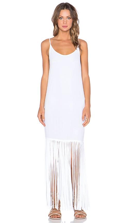 MONROW Fringe Maxi Dress in White