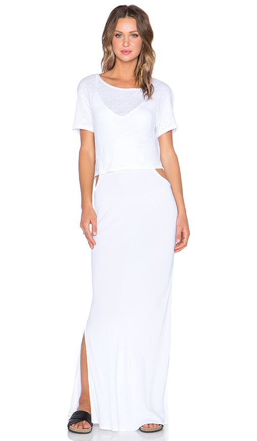 MONROW Double Layer Cut Out Dress in White