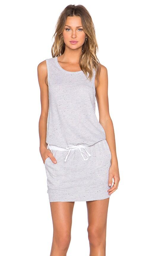 MONROW Linen Basics Drawstring Mini Dress in Heather Grey