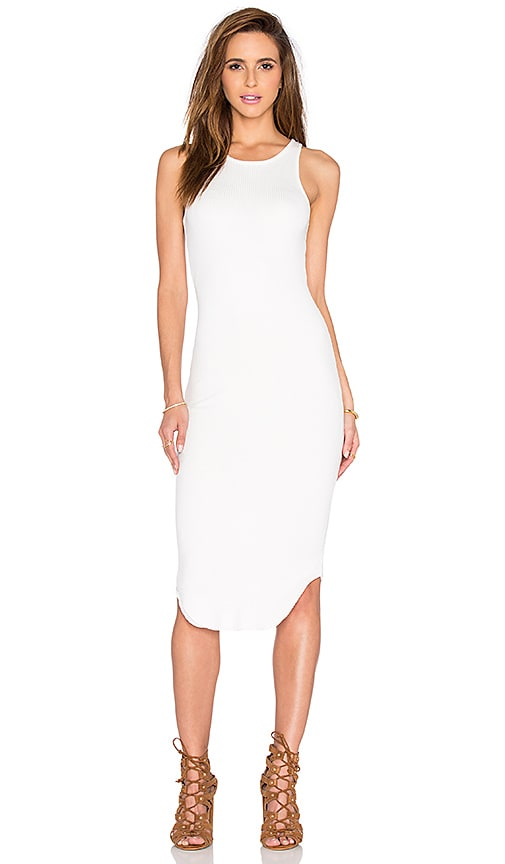 MONROW Rib Midi Dress in White