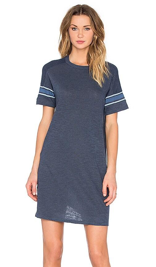 MONROW Sporty Oversized Tee Dress in Blue