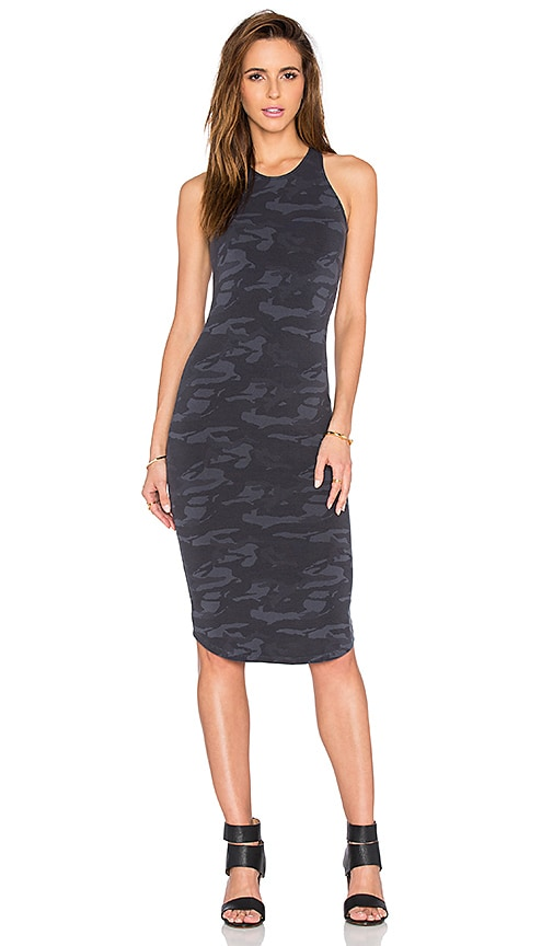 MONROW Camo Sporty Tank Dress in Charcoal
