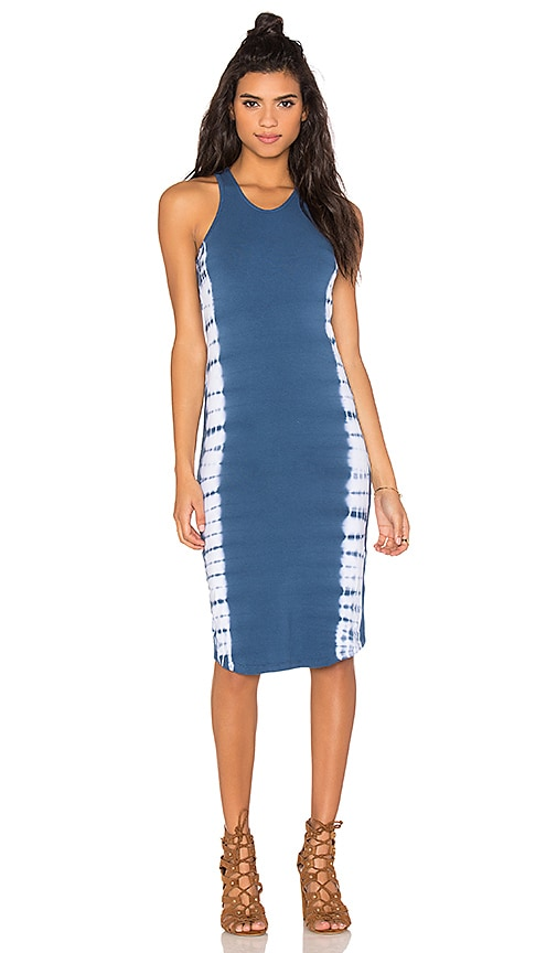 MONROW Sporty Tank Dress with Border Tie Dye in Navy