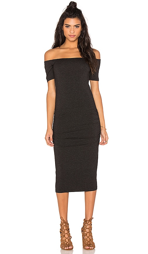 MONROW Stretch Granite Off The Shoulder Dress in Black