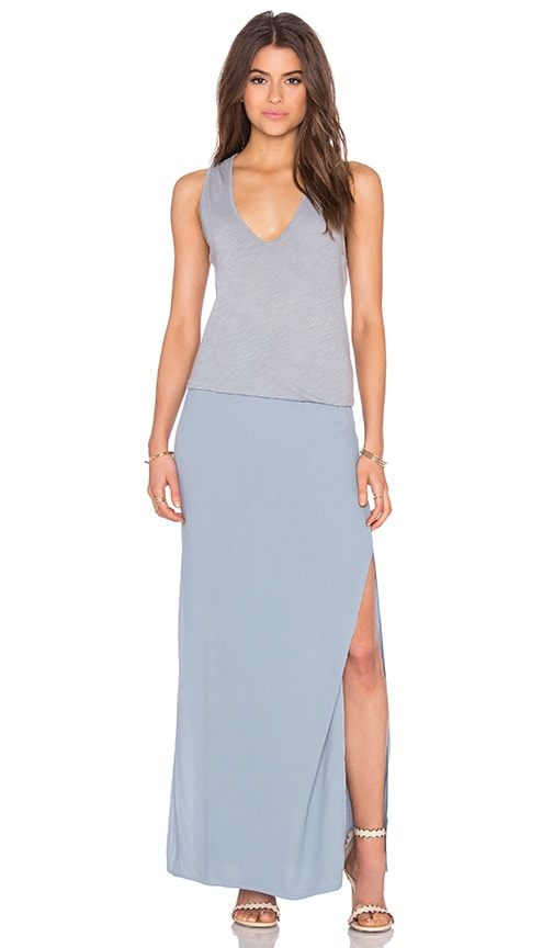 MONROW Deep V Maxi Dress in Slate