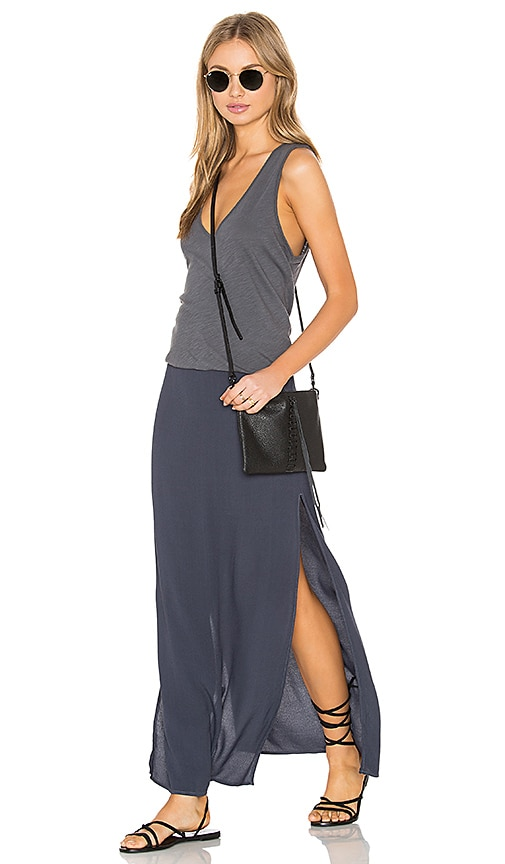 MONROW Deep V Maxi Dress in Gray