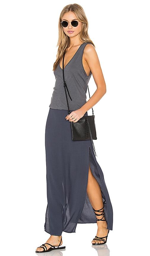 MONROW Deep V Maxi Dress in Vintage Black