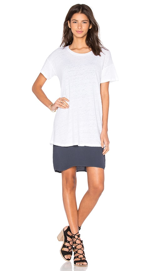 MONROW Double Layer Tee Shirt Dress in White