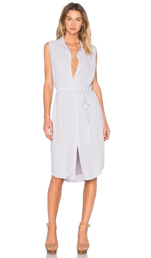 MONROW Sleeveless Shirt Dress in Chalk