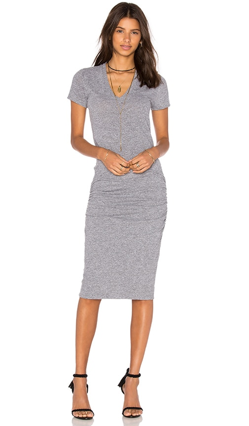 MONROW V-Neck Shirt Dress in Gray