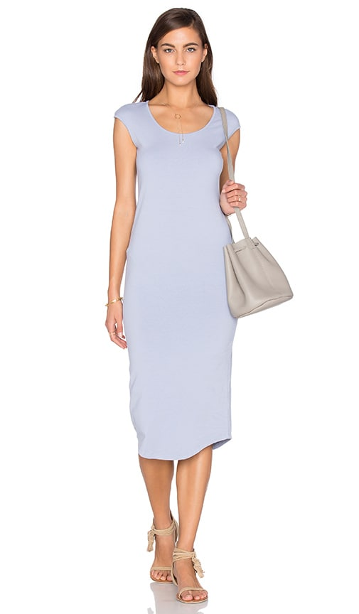 MONROW Cap Sleeve Dress in Blue