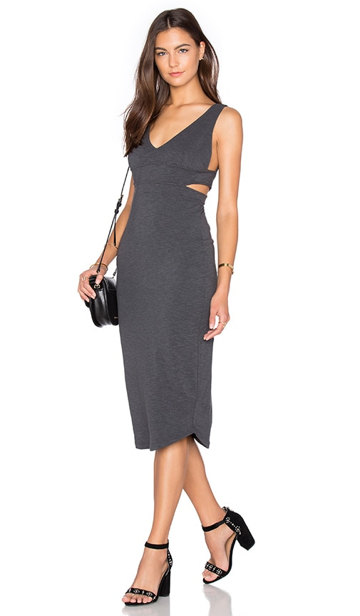 MONROW Cutout Dress in Charcoal
