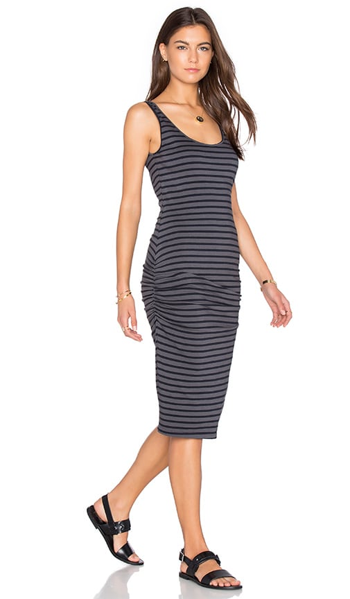 MONROW Stripe Shirred Tank Dress in Charcoal