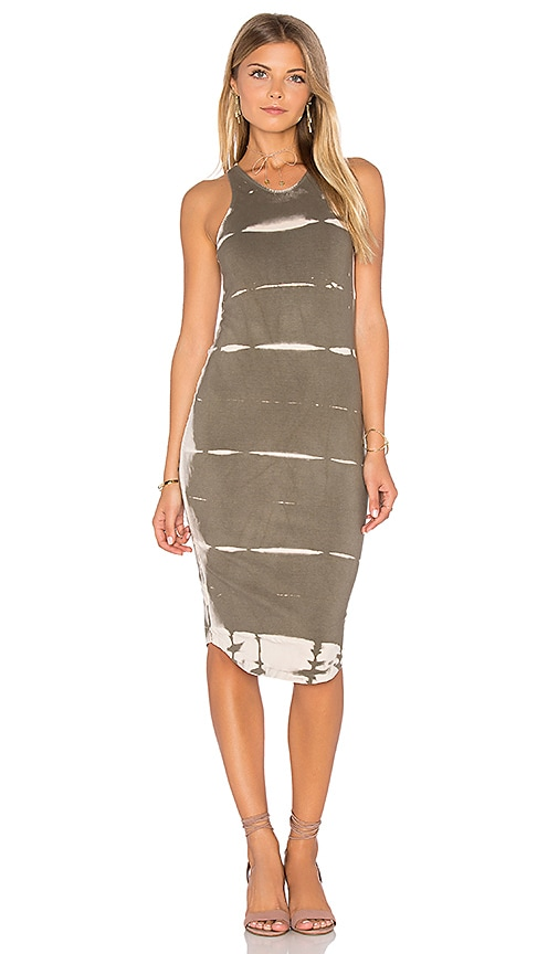 MONROW Ash Tie Dye Sporty Tank Dress in Olive