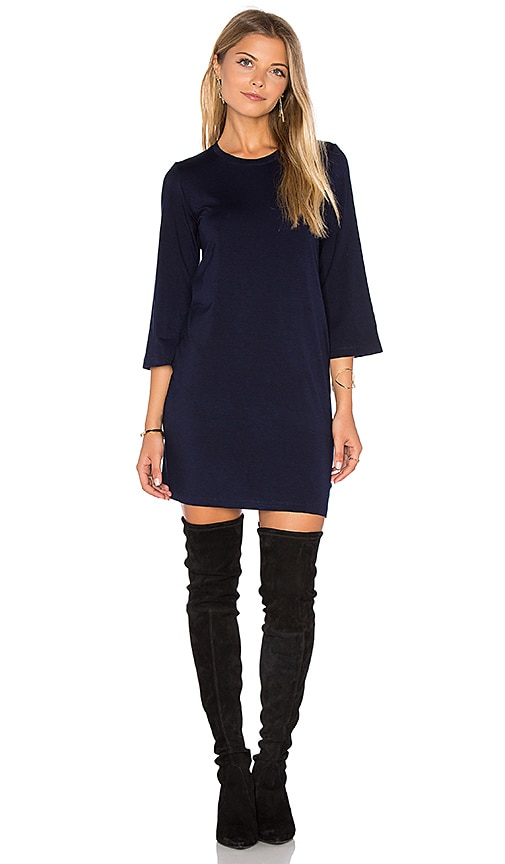 MONROW Long Sleeve Mini Dress in Navy