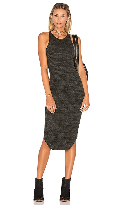 MONROW Stretch Rib Midi Dress in Olive