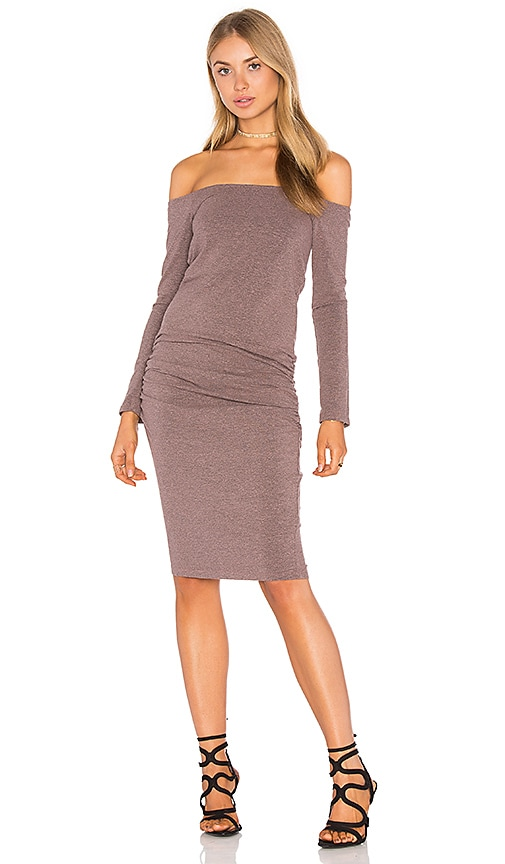 MONROW Off The Shoulder Long Sleeve Dress in Mauve