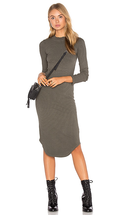 MONROW Mock Neck Long Sleeve Dress in Olive