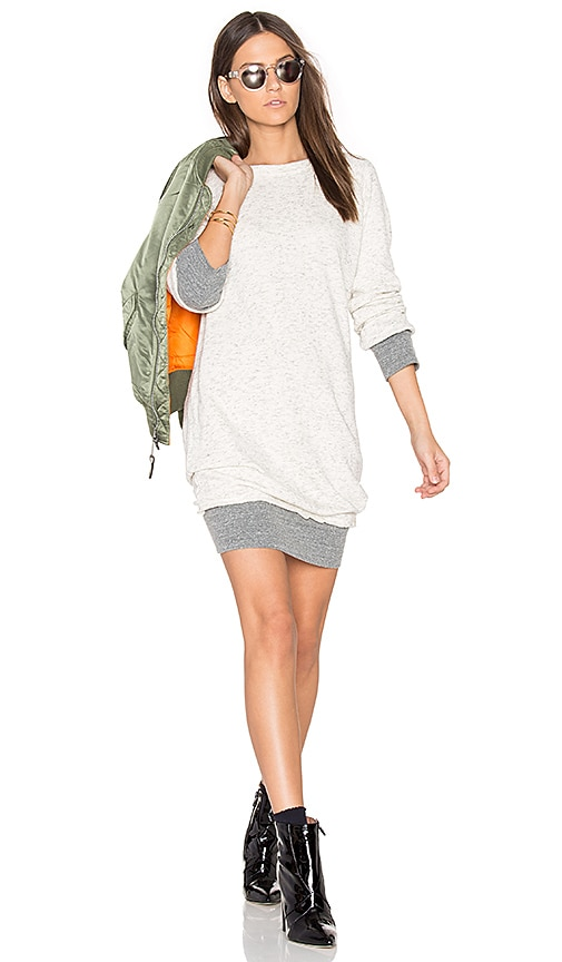 MONROW Double Layer Sweater Dress in Beige