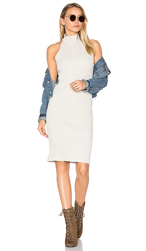 MONROW Turtleneck Halter Dress in Beige