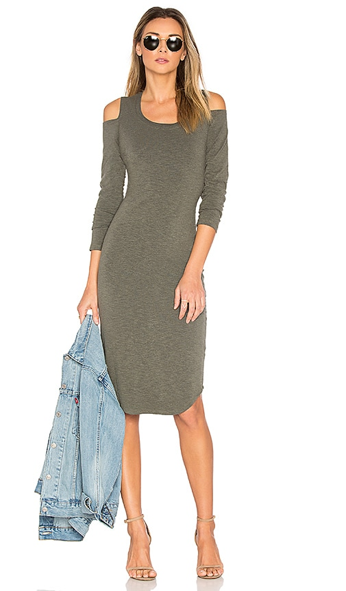 MONROW Shoulder Cut Out Dress in Olive