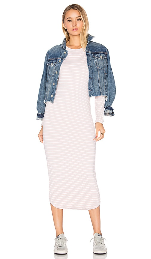 MONROW Stripe Dress in Blush