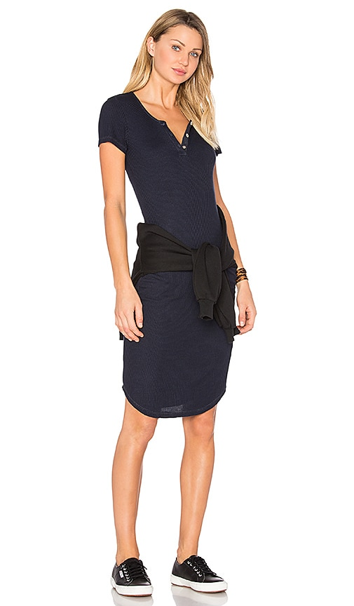 MONROW Short Sleeve Rib Mini Dress in Navy