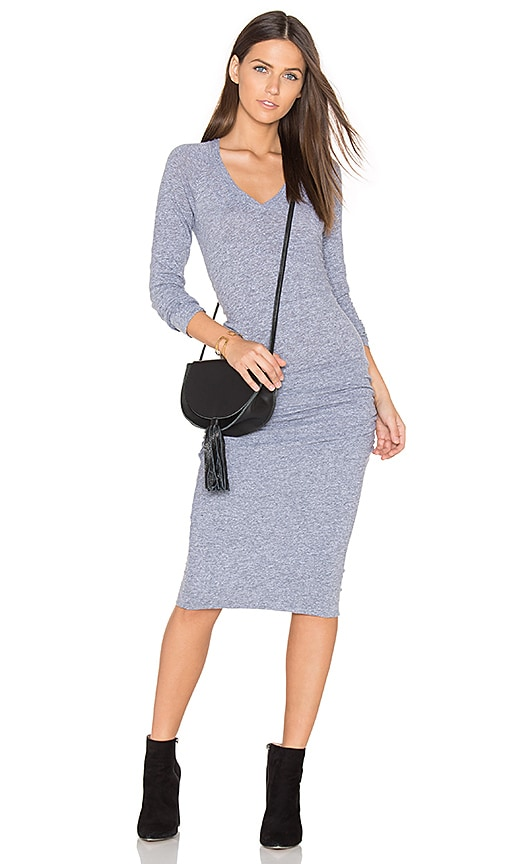 MONROW V Neck Baseball Dress in Grey