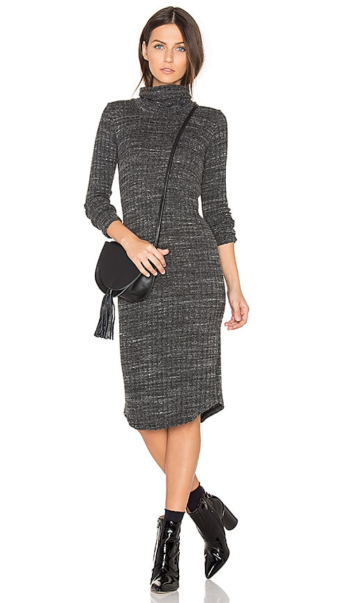 MONROW Turtleneck Dress in Charcoal