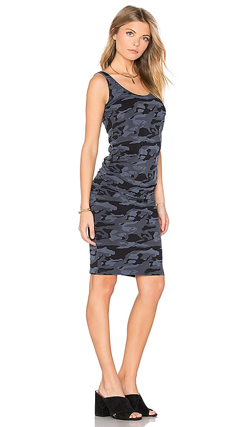 MONROW Bone Blue Camo Shirred Dress in Blue