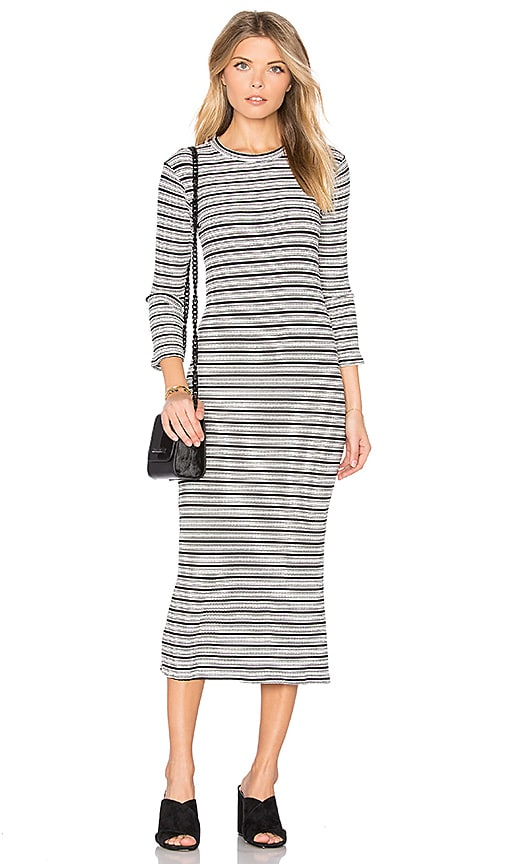 MONROW Stripe Sweater Dress in White