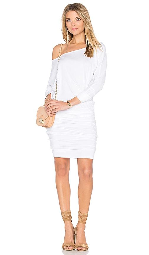 MONROW Off Shoulder Blouson Dress in White