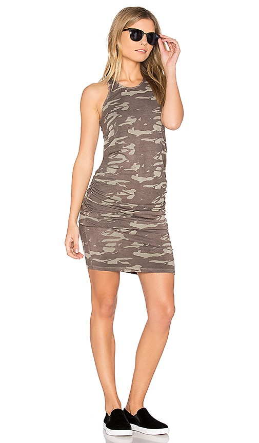 MONROW Neutral Camo Shirred Dress in Green