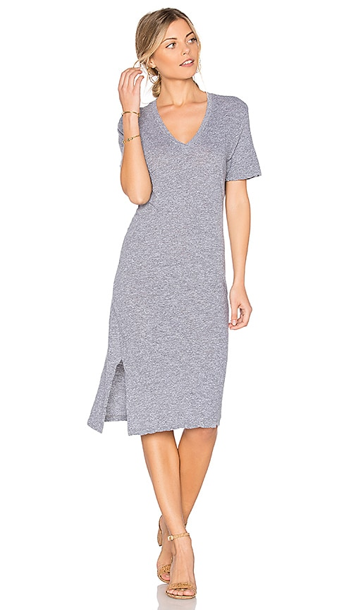 MONROW Oversized Knot Tee Dress in Gray