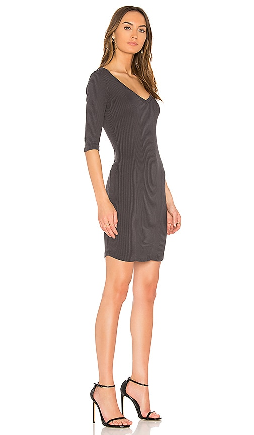 MONROW Double V Neck Rib Dress in Charcoal